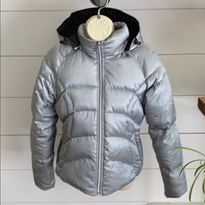 Nike Down Filled Silver Puffer Coat sz M